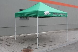 3x3m pop up tent with logo Zerna Ökotalu